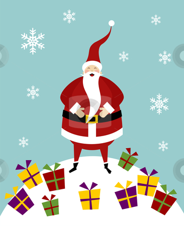 Christmas serie: Happy Santa Claus on a snow mountain with lot o stock photo, Happy Santa Claus standing on a snow mountain with a lot of colorful gifts. by Cienpies Design