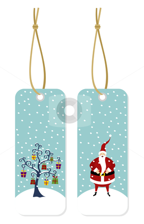 Christmas series: Santa Claus and Christmas tree hang tags stock photo, Happy Santa Claus standing on a snow mountain and Christmas tree with lots of gifts hang tags by Cienpies Design