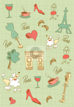 Paris icons design. stock photo, Hand made Paris icons on green background. Vector avaliable. by Cienpies Design
