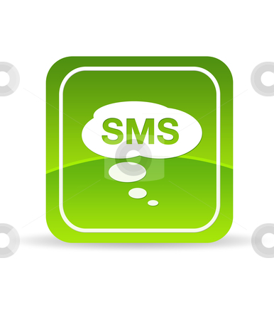 Green SMS Icon stock photo, High resolution green mobile SMS Icon on white background. by kbuntu