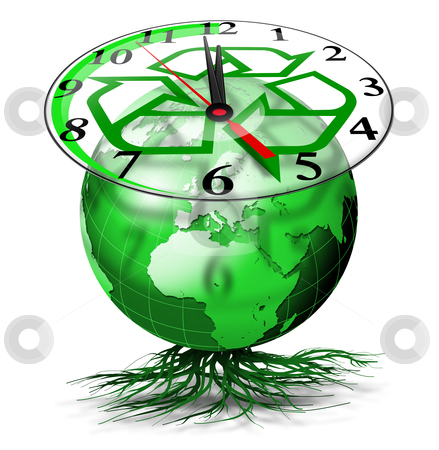 World clock ecology	 stock photo, Green terrestrial globe with roots and clock with symbol of the I recycle by catalby