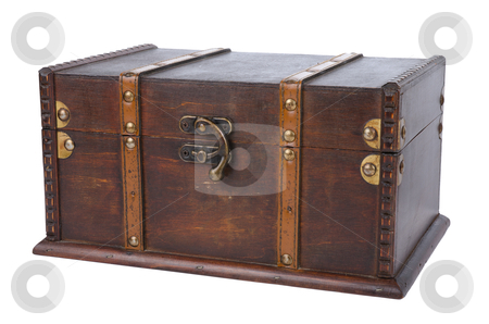 Closed antique wooden trunk stock photo, Closed antique wooden trunk isolated on on white background. by Homydesign
