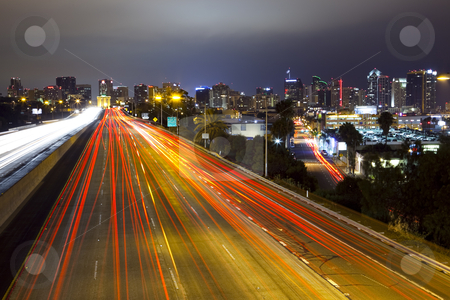 San Diego Skyline, Freeway stock photo, Long exposure of freeway and city skyline of San Diego, California by Bryan Mullennix