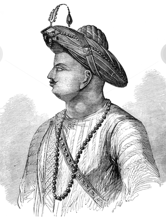 Tipu Sultan stock photo, Tipu Sultan (1750-1799) on engraving from 1800s. Also known as the Tiger of Mysore, was the de facto ruler of the Kingdom of Mysore. by Georgios Kollidas