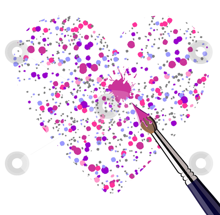Painted heart stock photo, One heart shaped with brushed dots. Vector file available. by Cienpies Design