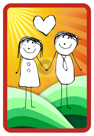 In love couple stock photo, In love couple illustration. Vector format available by Cienpies Design
