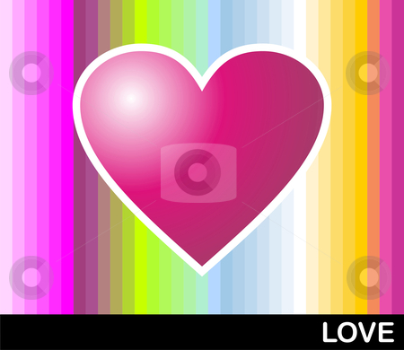 Loving pop heart stock photo, Bright pink heart with colored banded background. Vector format available by Cienpies Design