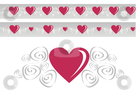 Loving heart stock photo, Red heart surrounded by a spiral design. Pattern with variants above. by Cienpies Design
