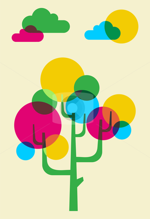 Mulicolored tree made with bubbles stock photo, Pink, Cyan, yellow, and green bubbles forming a tree illustration. Vector file available by Cienpies Design