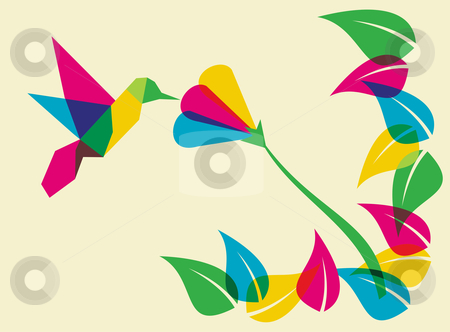 Spring time humming bird and flower stock photo, Spring time: multicolored humming bird. Vector file available. by Cienpies Design