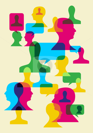 Social interaction symbols stock photo, Multicolored bubbles and human heads interaction. Vector file available. by Cienpies Design