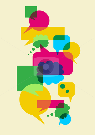 Speech social interaction bubbles stock photo, Interactive multicolored bubbles in different sizes and forms illustration. Vector file available. by Cienpies Design