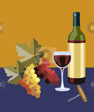Bottle and glass of wine stock photo, Bottle and glass of wine with grapes on the left by Cienpies Design