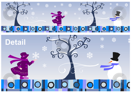 Seasons Collection: Winter stock photo, Girl and snowman in a winter day. Vector available by Cienpies Design