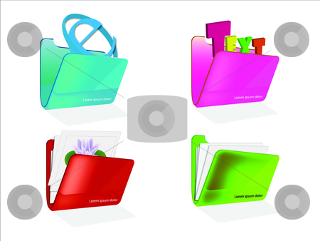 Web Icons stock photo, Colorful Folder Icons by sixthlife