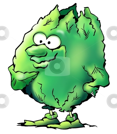 Lettuce salad vegatable green mascot  stock photo, Lettuce salad vegatable green mascot  by DrawShop - Poul Carlsen
