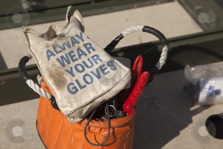 Always Wear Your Gloves Electricians Work Bag stock photo, Always Wear Your Gloves Electricians Work Bag and Tools. by Andy Dean