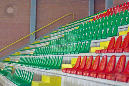 Arena stock photo, Green and red empty seats of an arena by Fabio Alcini