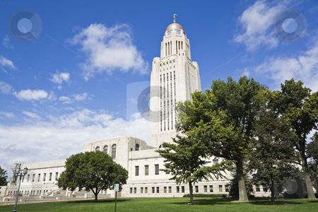 Lincoln, Nebraska - State Capitol Building stock photo, Lincoln, Nebraska - State Capitol Building with the trees by Henryk Sadura