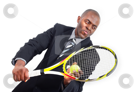 Business man playing tennis in suit stock photo, concept business game plan.  african american ethnic  man playing tennis in suit and tie white background copyspace  by JOSEPH S.L. TAN MATT