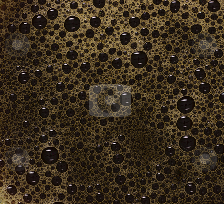 Black coffee bubbles stock photo, close up of black coffee bubbles by zkruger