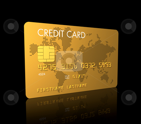 Gold credit card stock photo, Gold credit card, 3D render isolated on black by Laurent Davoust