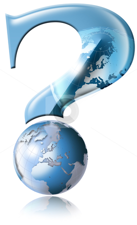 Why global questions stock photo, Question mark with blue globe by catalby