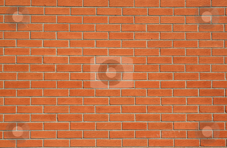 Plain Red Brick Wall stock photo, A plain red brick wall background. by Chris Hill