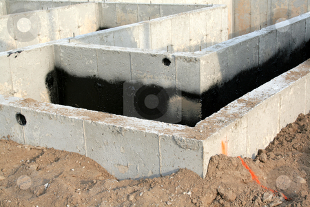 Townhouse Foundation stock photo, The foundation of a new townhouse. by Chris Hill