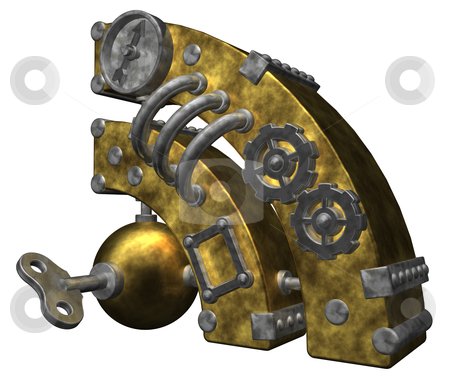 Rss stock photo, steampunk rss symbol on white background - 3d illustration by J?