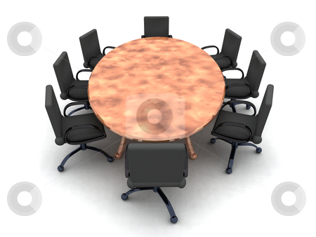 Round Table stock photo, 3D rendered Illustration.