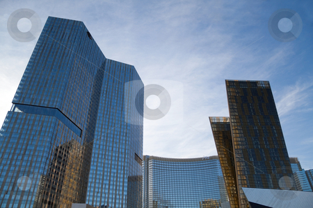 City Center Hotel and Casino stock photo, December 30th, 2009 - Las Vegas, Nevada, USA - The large CityCenter Complex feature the VEER towers to the right, Aria Hotel and Casino in the back, Mandarin Oriental Hotel to the right by Kevin Tietz