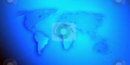 World map render 3D in blue stock photo, World map render 3D with shadow in blue color by marphotography