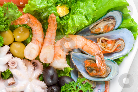 Seafood set stock photo, appetizer closeup of different seafood and vegetables by olinchuk