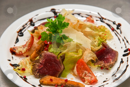 Salad with roast beef stock photo, salad with roast beef, chinese cabbage, parmesan cheese, courgette, pepper and tomato by olinchuk