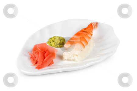 Nigiri sushi stock photo, nigiri sushi closeup isolated on white background by olinchuk