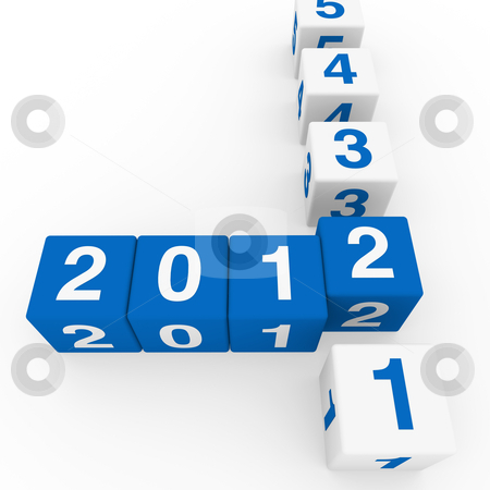 New year cube blue white stock photo, 2011 2012 happy new year blue 3d cube by d3images