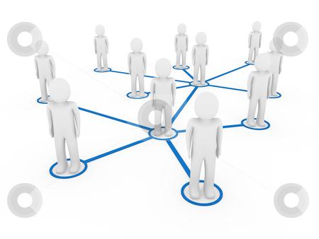 3d men network social blue stock photo, 3d men network social blue people connection teamwork by d3images