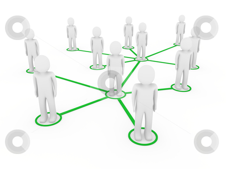 3d men network social green stock photo, 3d men network social green people connection teamwork by d3images