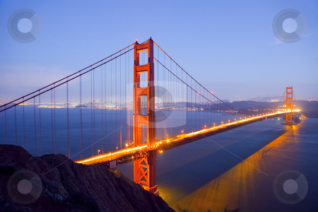 Golden Gate Bridge at Night stock photo, Golden Gate Bridge at Night with San Francisco Skyline, long exposure by Bryan Mullennix