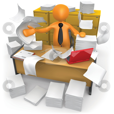 Messy Office stock photo, Businessman trying to make some space on his messy office. by Konstantinos Kokkinis