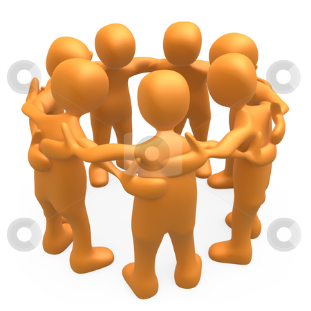 Huddle stock photo, People together forming a huddle . by Konstantinos Kokkinis