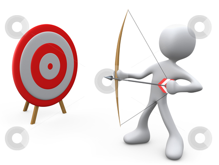 Target Practice stock photo, 3d person aiming an arrow at a target . by Konstantinos Kokkinis