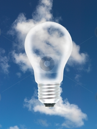 Light Bulb stock photo, A light bulb in the sky by Kitch Bain