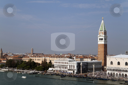Piazza San Marcos stock photo, VENICE, ITALY - SEPTEMBER 25th, 2009 - The very busy Piazza San Marcos known for being Europes outdoor living room with its famous bell tower and Basilica, taken on September 25th, 2009 in Venice, Italy by Kevin Tietz