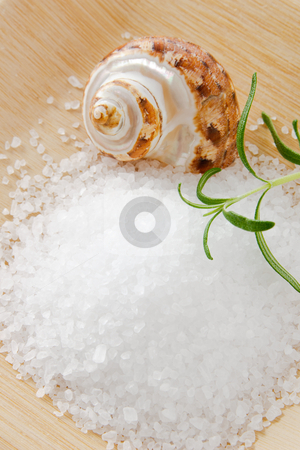 Sea Salt Scrub with Aromatic Rosemary stock photo, Sea salt bath scrub accented with aromatic rosemary and a seashell on a bamboo tray by Karen Sarraga