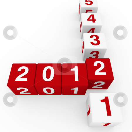 New year eve cubes  2012 stock photo, 2011 2012 happy new year red 3d cube by d3images