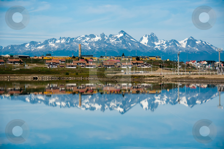 Mountain Reflections, Ushuaia, Tierra del Fuego, Argentina stock photo, Snow covered mountains are reflected in the ocean along Ushuaia's coastline by liverbird