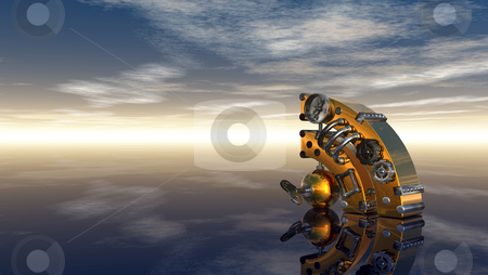 Rss stock photo, steampunk rss symbol under cloudy blue sky - 3d illustration by J?