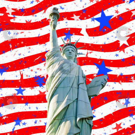 Statue liberty stars stripes for 4th july stock photo, statute of liberty and abstract stars and stripes us flag for 4th july by Phil Morley